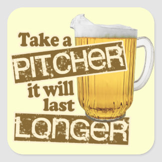 Rolig öl som dricker humor fyrkantigt klistermärke