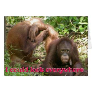 Rolig Orangutanvalentin som jag kunde se överallt OBS Kort