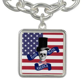 Rolig patriotisk amerikan berlockarmband