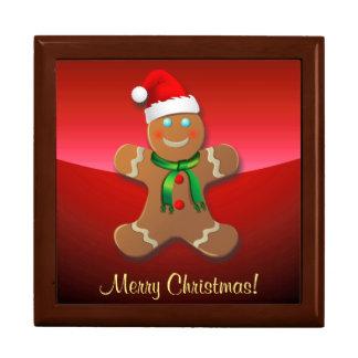 Rolig pepparkaksgubbe med den Santa hatten Stor Presentask