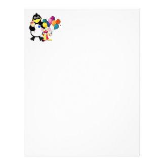 Rolig pingvin- & clowntecknad brevhuvud