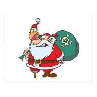 rolig pirat santa och julaftonpapegojatecknad vykort