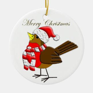 Rolig prydnad för julSparrow för julafton! Julgransprydnad Keramik