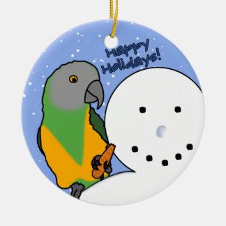 Rolig prydnad för snögubbeSenegal papegoja Julgransprydnad Keramik