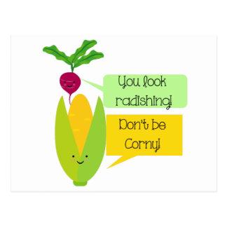 Rolig rädisa- och majgrönsakhumor vykort