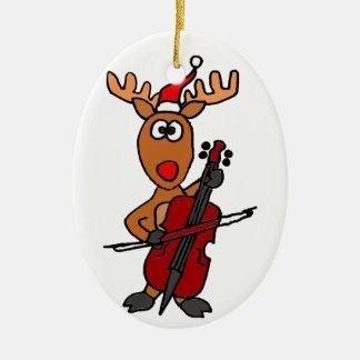 Rolig ren som leker violoncelljul ovalformad julgransprydnad i keramik