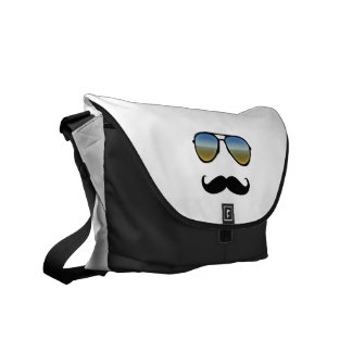 Rolig Retro solglasögon med moustachen Messenger Bag