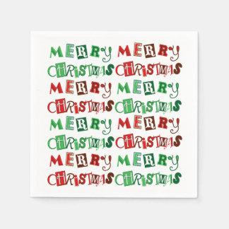 Rolig röd och grön god jul servett