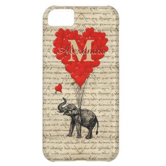 Rolig romantisk elefant- och kärlekhjärta iPhone 5C fodral