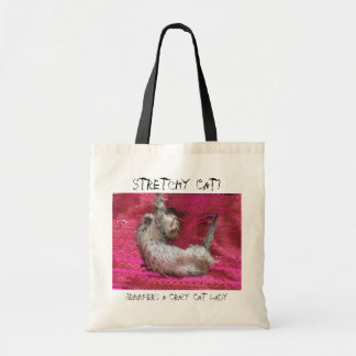 Rolig rosa tote bags för galen kattdam tygkasse
