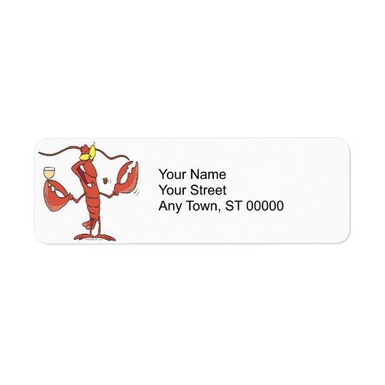 rolig rosta hummertecknad returadress etikett