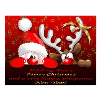 Rolig Santa och rentecknadjul Postcar Vykort