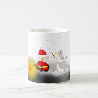 Rolig Santa och snögubbemugg Vit Mugg