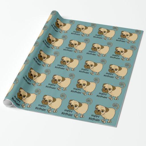Rolig sjal för gåva för mopshundfödelsedag julpapper