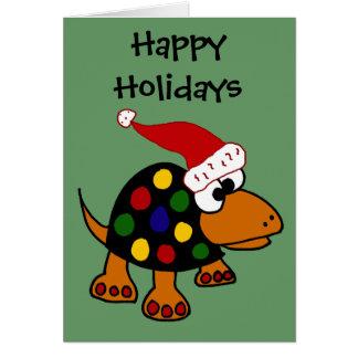 Rolig sköldpadda i konst för Santa hattjul Hälsningskort