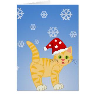 Rolig snöflingor för julkattgult