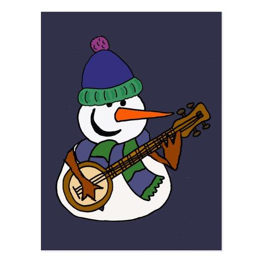 Rolig snögubbe som leker Banjokonstverk Vykort