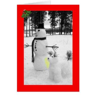 Rolig snögubbejul hälsningskort