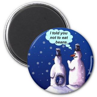 Rolig snögubbetecknad magnet