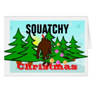 Rolig Squatchy jul Tacky Bigfoot Hälsningskort