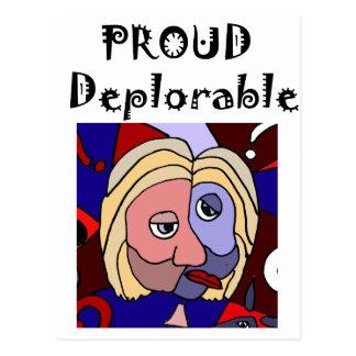 Rolig stolt beklagansvärd politisk tecknad vykort