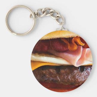 Rolig stor hamburgare rund nyckelring
