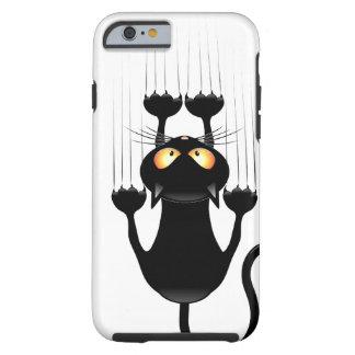 Rolig svart katttecknad som skrapar väggen tough iPhone 6 fodral