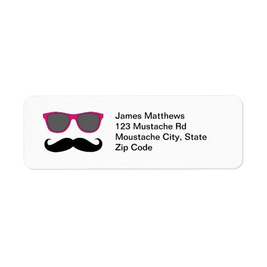 Rolig svart mustasch- och solglasögonreturadress returadress etikett