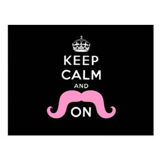 Rolig svart, rosabehållalugn och mustasch på vykort