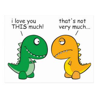 rolig-T-Rex-lite-ärmar-tecknad Vykort