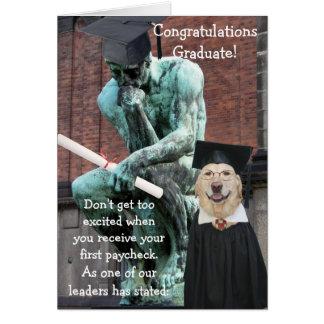 Rolig tänkare- & hundstudenten hälsningskort