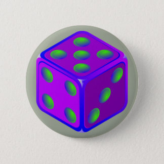 Rolig tärningtemaknapp standard knapp rund 5.7 cm