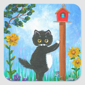 Rolig tecknad Creationarts för kattmusfågel Fyrkantigt Klistermärke