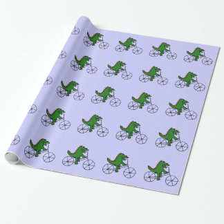 Rolig tecknad för alligatorridningcykel presentpapper