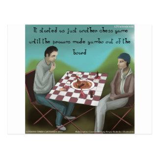 Rolig tecknad för Cajun schack Vykort