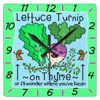 Rolig tecknad för vits för grönsak för fyrkantig klocka
