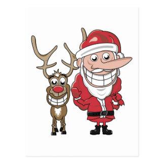 Rolig tecknad Santa och Rudolph Vykort