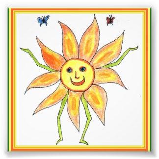 Rolig teckning för solrosbarn fototryck