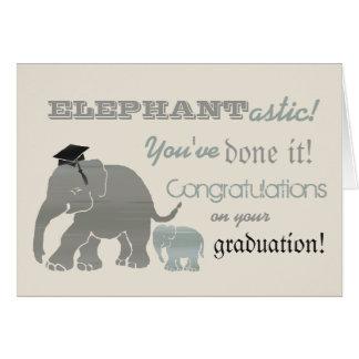 Rolig typografisk elefantstudenten för vintage hälsningskort