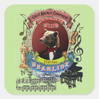 Rolig underbar djur kompositör Berlioz för Fyrkantigt Klistermärke