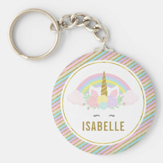 Rolig Unicorn Keychain Rund Nyckelring