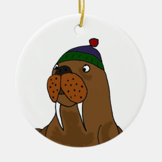 Rolig valross i luva julgransprydnad keramik