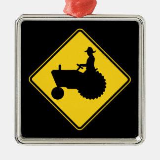 Rolig varning för lantgårdtraktorvägmärke julgransprydnad metall