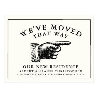 Rolig vintage räcker ny adress vit vykort