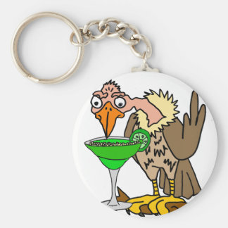 Rolig vråk eller gam som dricker margarita rund nyckelring