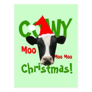 Rolig vykort för Cowy julSanta ko