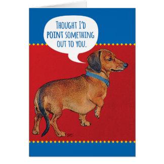 Rolig Wienerhund (tax) som ut pekar gamling Hälsningskort