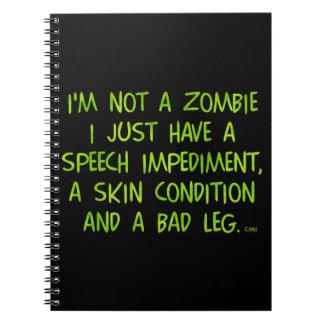 Rolig Zombie inte en Zombiegrönt Anteckningsbok Med Spiral