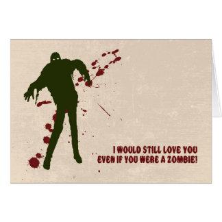 Rolig Zombie med blodvalentin kortet för dag Hälsningskort