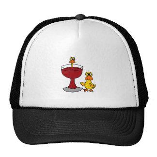 Roliga ankor med rött vinexponeringsglas keps